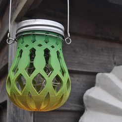 Download free 3D printing templates bulb shaped mason jar garden light, edwardo