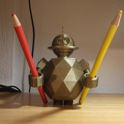 Free stl files ROBOT TOOTHBRUSH (OR PEN) HOLDER, TED3D