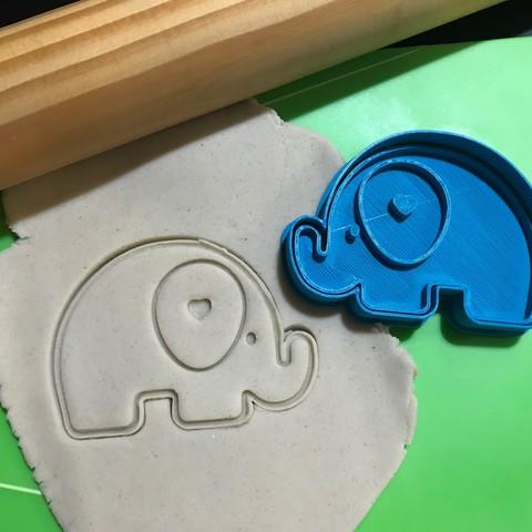 Télécharger fichier impression 3D Bébé Eléphant Coeur Coeur Cookie Cutter. Tampon + Couteau, 12CREATIVO