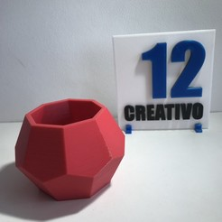 3D printer models Octaplanter - Pot Planter Suculents Low Poly, 12CREATIVO