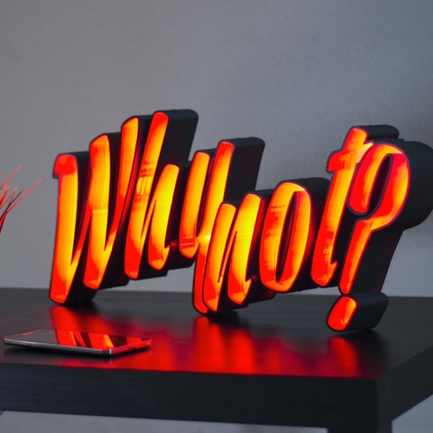 "archivos stl LED light letters ""Why not?"" gratis, dukedoks"