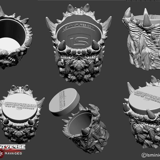Dice_cup01_sample.jpg Download free STL file War Of The Ravaged - Dice Cup/Shaker • 3D print design, LSMiniatures