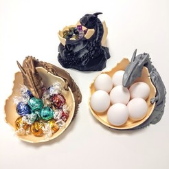 IMG_20180310_093930.jpg Download STL file Dragon guarding egg, candy or dice. • 3D printer design, printingotb