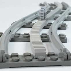 Free 3D printer designs Lego Train curved Rack, TheGoofy