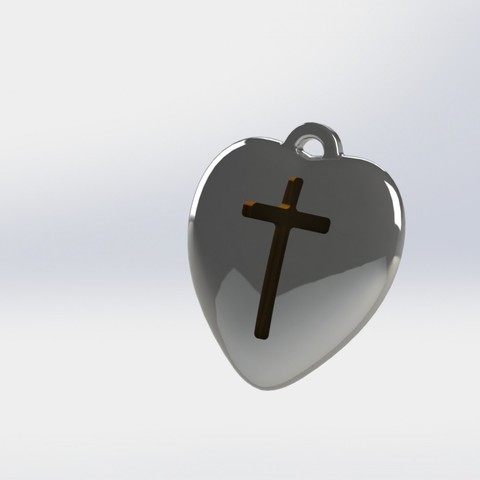 heart-06.JPG Download STL file Pendant Heart with a Cross printable model • Object to 3D print, mahsali