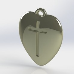 Download free 3D printer templates Pendant Heart with a Cross printable model, mahsali