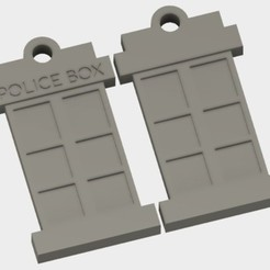 Download free 3D printing designs Police Box (Tardis) Keychain, JonathanK1906