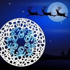 Adorno Copo 2.jpg Télécharger fichier STL Ornement de roue de Noël de Voronoi - Style écaille • Design pour imprimante 3D, Magonet
