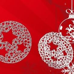 Adorno Estrellax3 Voronoi.jpg Télécharger fichier STL Ornement de roue de Noël de Voronoï - Style 3 étoiles • Design à imprimer en 3D, Magonet