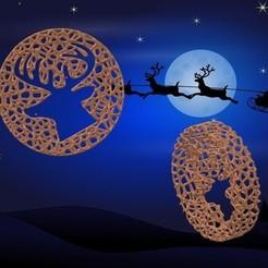 Adorno Reno.jpg Télécharger fichier STL Ornement de la roue de Noël de Voronoi - Style renne • Design pour impression 3D, Magonet