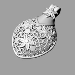 flowerp.jpg Download free STL file flower pendant • 3D printable template, Janusz