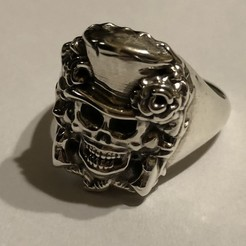 Download free 3D printer designs skull signet ring, Janusz