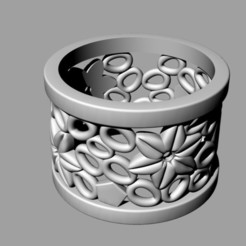 Free 3D printer designs flower ring, Janusz