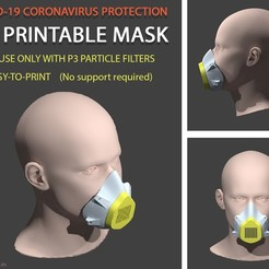 Descargar modelos 3D gratis COVID-19 MASK (Easy-to-print, no support, filter required), lafactoria3d