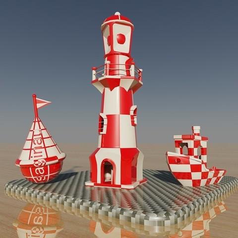 Free 3D print files Lighthouse-Buoy-Ship, Dual extruder Test, saginau