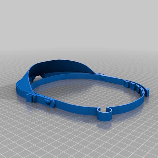 facial_saginau_optimizada_margen_de_visera_maximo.png Download free STL file Enhanced Face Protection 36grams, can be printed stacked • Design to 3D print, saginau