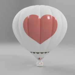 Free Desktop Hot Air Balloon with Heart 3D printer file, GabrielYun