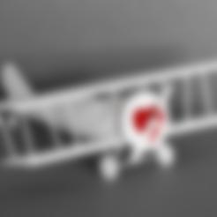 Free stl files Biplane with Heart, GabrielYun