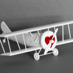 Download free 3D printing designs Biplane with Heart, GabrielYun