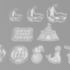 Download STL file CIRCUS COOKIE CUTTER KIT - CUTTER OF CIRCUS COOKIES, SrCortante