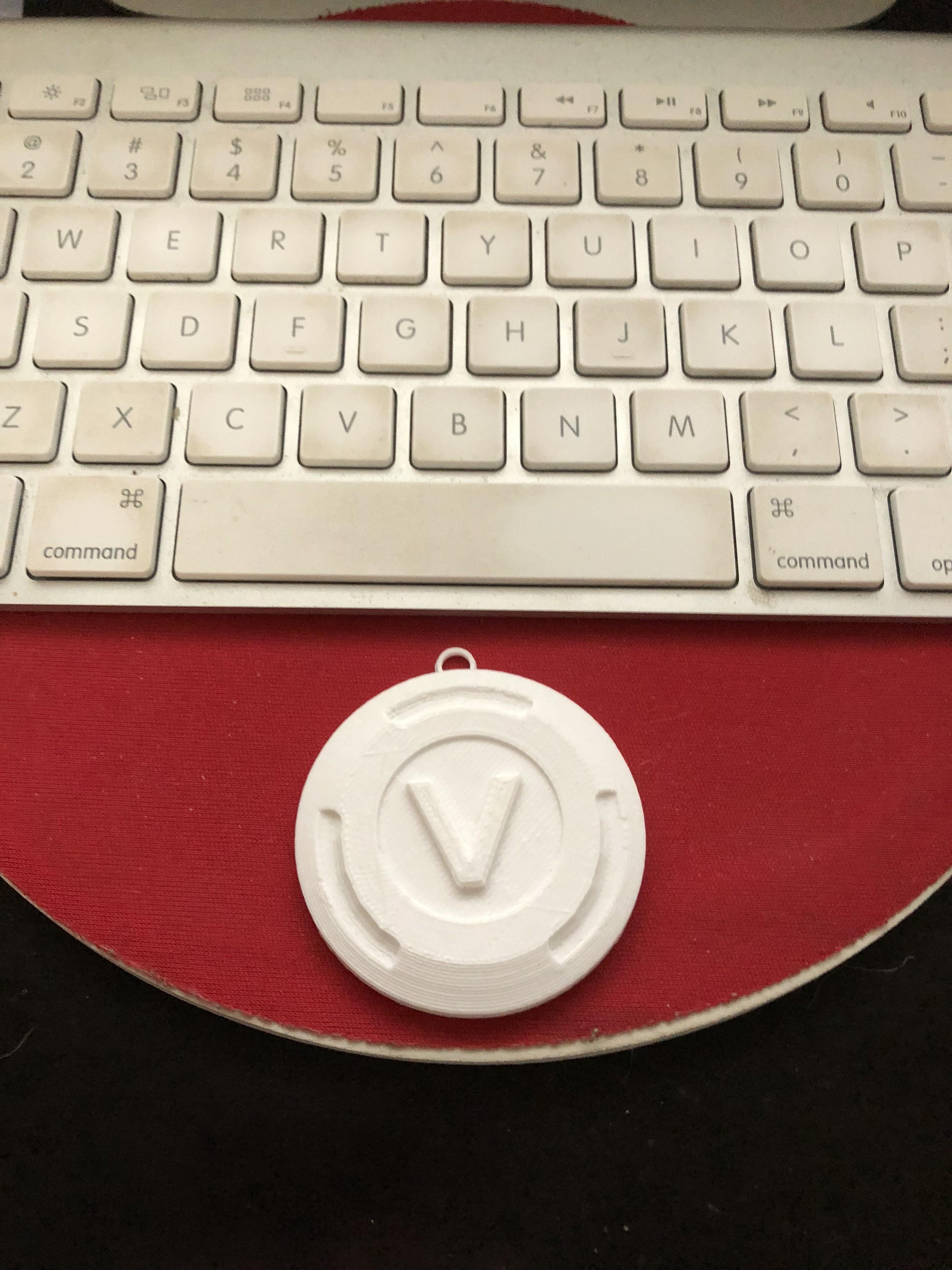 IMG_0410.jpeg Download STL file Fortnite - Vbuck Keychain! • 3D printer object, Coorbin