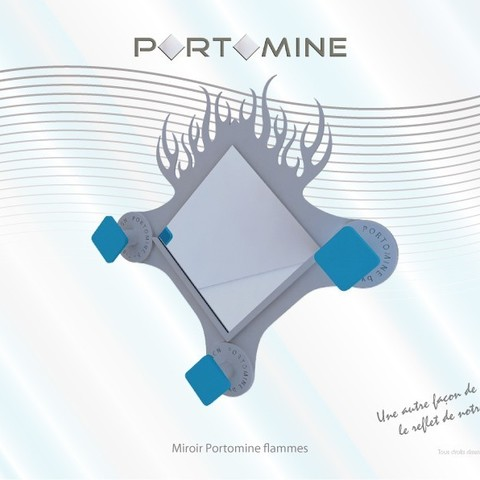 3D print model Mirror & pegs Portomine flames, Tibe-Design