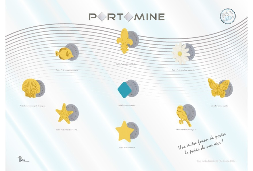 portomine_present_patere_x9modeles01.jpg Download free STL file Portomine lozenge hook • 3D print template, Tibe-Design