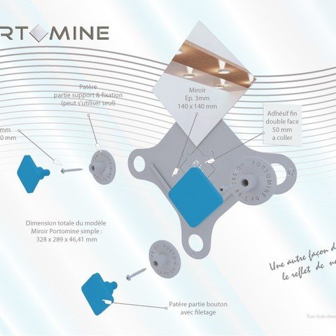portomine_present_decompo01.jpg Download STL file Portomine Liberty mirror & coat hooks • Model to 3D print, Tibe-Design
