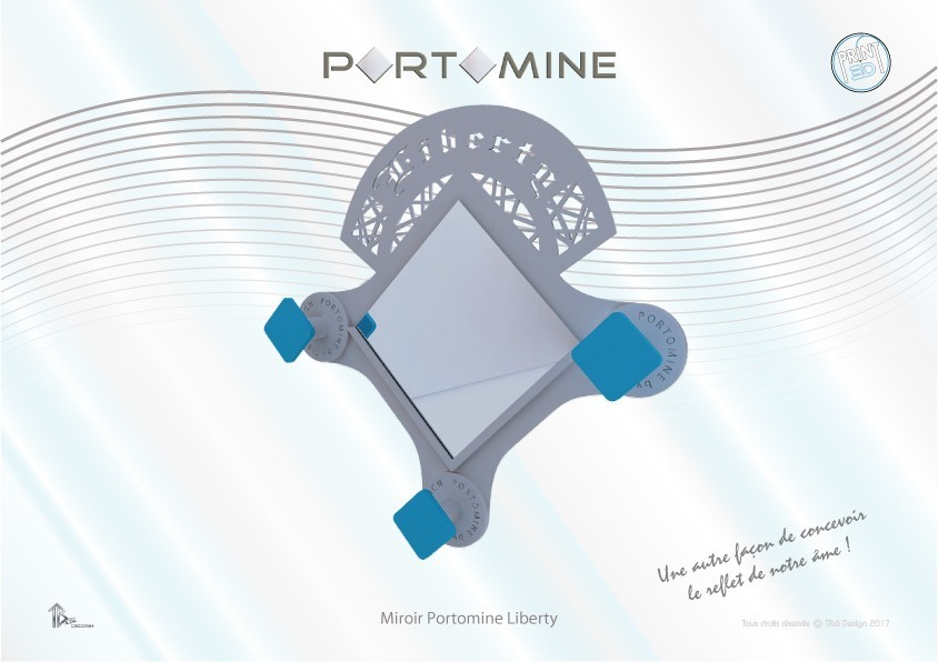 portomine_miroir_liberty01.jpg Download STL file Portomine Liberty mirror & coat hooks • Model to 3D print, Tibe-Design