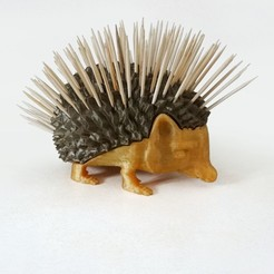herisson_cure-dent01.jpg Download free STL file Toothpick holder Hedgehog • 3D printer design, Tibe-Design
