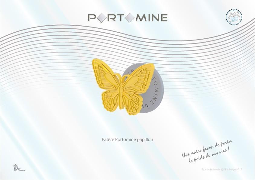 portomine_patere_papillon01.jpg Download STL file Portomine butterfly hook • 3D printing design, Tibe-Design