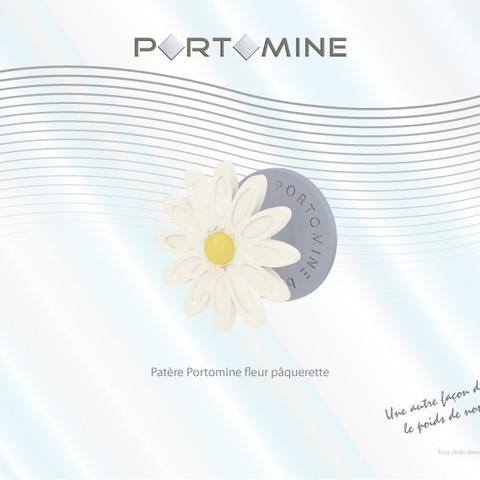STL Patère Portomine fleur pâquerette, Tibe-Design