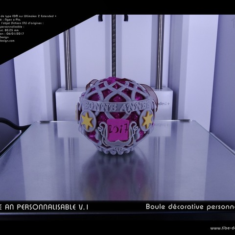 boule_an_perso2017-02.jpg Download free STL file Decorative ball of the new year V.1 • 3D printer template, Tibe-Design