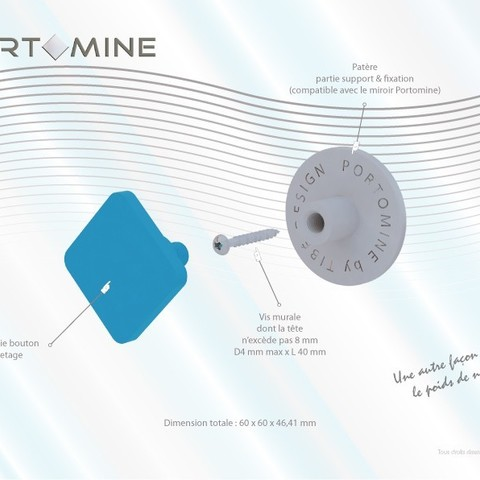 portomine_present_patere_decompo01.jpg Download free STL file Portomine lozenge hook • 3D print template, Tibe-Design