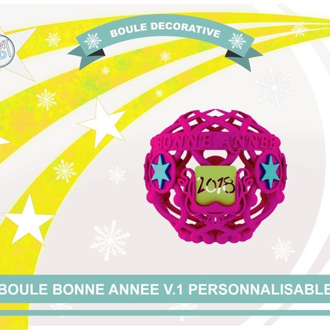 boule_an_2018_def01.jpg Download free STL file Decorative ball of the new year V.1 • 3D printer template, Tibe-Design