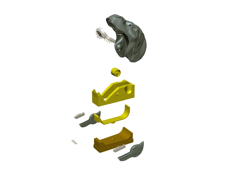 """devidoir_t-rex_decompo01.jpg Télécharger fichier STL gratuit Dévidoir à scotch """"Monsteranimal T-Rex"""" • Modèle imprimable en 3D, Tibe-Design"""