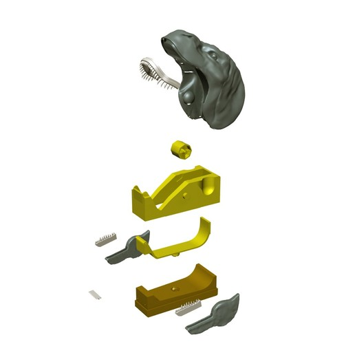 "devidoir_t-rex_decompo01.jpg Download free STL file ""Monsteranimal T-Rex"" tape dispenser • 3D print design, Tibe-Design"