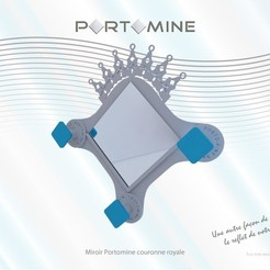 portomine_miroir_couronne01.jpg Download STL file Portomine Royal Crown Mirror & Hooks • 3D printer design, Tibe-Design