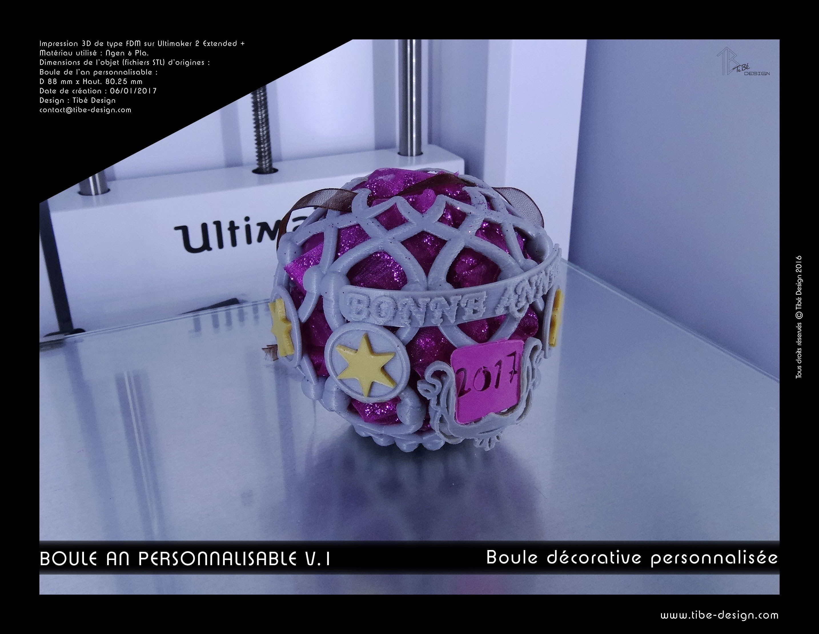 boule_an_perso2017-01.jpg Download free STL file Decorative ball of the new year V.1 • 3D printer template, Tibe-Design