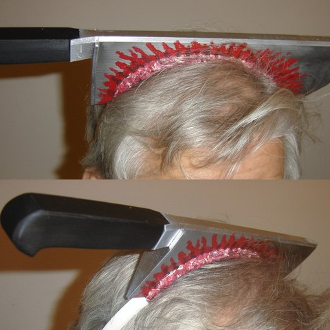 HeadKnife01.jpg Download free STL file Halloween Head Knife • Template to 3D print, Vince3D