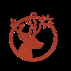 """1cerfno.png Télécharger fichier STL gratuit Décoration pour sapin de Noël  """"tête de cerf"""" • Design à imprimer en 3D, albino"""