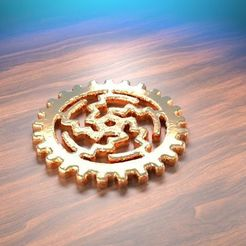 "Download free 3D printing models Steampunk style ""sun"" gearing, albino"