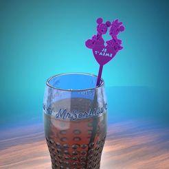 """verre.jpg Télécharger fichier STL gratuit mélangeur à boisson """"saint valentin"""" • Plan à imprimer en 3D, albino"""