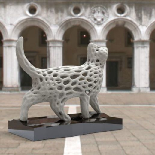 "monchat.jpg Download free STL file ""Voronoi"" cat • 3D print model, albino"
