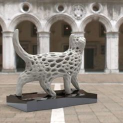 "Download free 3D printing files ""Voronoi"" cat, albino"