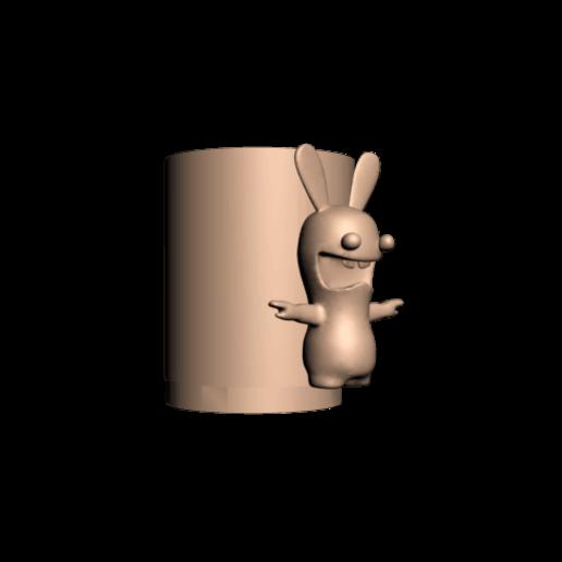 Lapin cretin 1 verre 2.png Download free STL file Glass for draining toothbrushes Rabbid rabbit • 3D printing design, CE_FABLAB_FREE_WORK_EXCHANGE