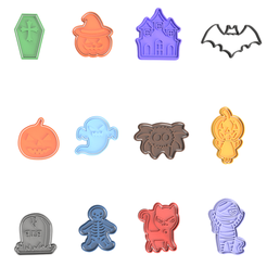Halloween Set V2.png Download STL file Halloween Cookie Cutter Set of 12 • 3D printing template, dwain