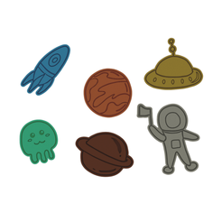 Space v2.png Download STL file Space Theme Cookie Cutter Set • 3D printing template, dwain