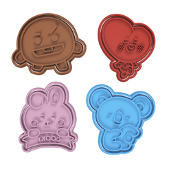 BT21 v2.png Download STL file BT21 Full Alternative Cookie Cutter Set of 4 • 3D print design, dwain