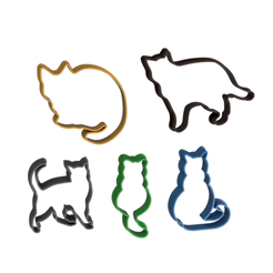 Cat Cutter Collection v1.png Télécharger fichier STL Collection de 5 biscuits pour chats • Plan pour imprimante 3D, dwain